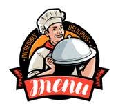 Menu del caffè o del ristorante, logo o etichetta Illustrazione di vettore illustrazione vettoriale