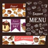 Menu del caffè con progettazione disegnata a mano Modello del menu del ristorante del dessert Insieme delle carte per l'identità  Fotografie Stock Libere da Diritti