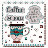 Menu del caffè Illustrazione di vettore Immagini Stock