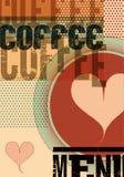Menu del caffè Retro manifesto tipografico per il ristorante, il caffè o il caffè Illustrazione di vettore Immagine Stock