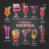 Menu del cocktail del biglietto di S. Valentino Immagini Stock