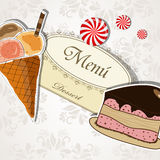 Menu del dessert Immagine Stock