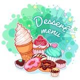 Menu del dessert con differenti dolci: gelato, guarnizioni di gomma piuma, cioccolato Fotografie Stock Libere da Diritti