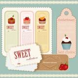Menu del dessert dell'annata - insieme dei contrassegni Fotografia Stock Libera da Diritti