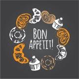 Menu del forno Dessert dolce messo: bigné, croissant, guarnizioni di gomma piuma, dolce con le bacche Disegno di gesso Fotografia Stock