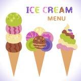 Menu del gelato con le icone Fotografie Stock Libere da Diritti