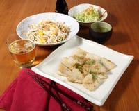 Menu del pesce e delle verdure Fotografie Stock