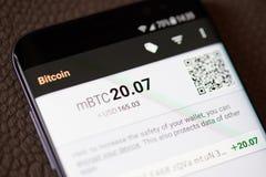 Menu del portafoglio di Bitcoin sullo schermo dello smartphone Immagine Stock Libera da Diritti