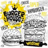 Menu del ristorante del caffè della casa dell'hamburger Vector le sotto carte dell'aletta di filatoio degli alimenti a rapida pre royalty illustrazione gratis