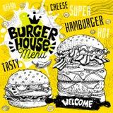 Menu del ristorante del caffè della casa dell'hamburger Vector le sotto carte dell'aletta di filatoio degli alimenti a rapida pre illustrazione vettoriale