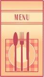Menu del ristorante con la zolla, il cucchiaio, la forchetta e la lama Immagine Stock Libera da Diritti