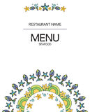 Menu del ristorante dei frutti di mare sul campo bianco illustrazione vettoriale