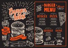 Menu del ristorante dell'hamburger Aletta di filatoio dell'alimento di vettore per la barra ed il caffè desi illustrazione di stock