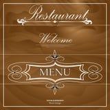 Menu del ristorante sui precedenti di legno Immagine Stock Libera da Diritti