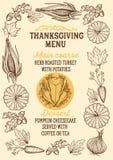 Menu dell'alimento di ringraziamento per la celebrazione della cena di festa illustrazione di stock