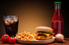 Menu dell'hamburger Fotografia Stock