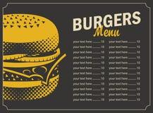 Menu dell'hamburger con il listino prezzi Fotografia Stock