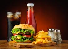Menu dell'hamburger degli alimenti a rapida preparazione Fotografia Stock