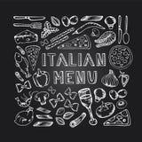 Menu dell'italiano del caffè del ristorante Fotografia Stock