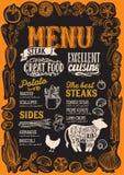 Menu della bistecca per il ristorante con la struttura delle verdure grafiche royalty illustrazione gratis