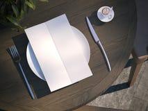 Menu della cena sul piatto alla tavola di legno rappresentazione 3d Fotografia Stock