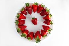 Menu della fragola Piatto con le fragole isolate su backg bianco Fotografia Stock
