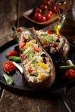 Menu della melanzana della quinoa farcito vegetariano Fotografia Stock