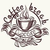 Menu della pausa caffè Disegno della mano dell'iscrizione, illustrazione di modo del tema di caffè Producendo caffè progettare il Fotografia Stock