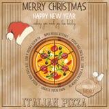 Menu della pizza di Natale illustrazione di stock