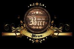 Menu design with beer Stock Image