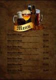 Menu design with beer Royalty Free Stock Image