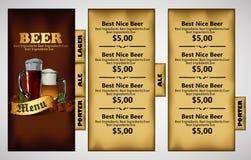 Menu design with beer Stock Photos