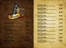 Menu design with beer Stock Images