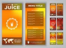Menu design with blurred background. (flyers, banners, brochures) for advertising juice. Vector illustration. Set Vector Illustration