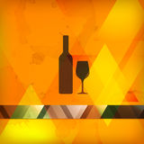Menu design with bottle and wineglass. Sign Royalty Free Stock Image