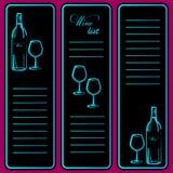 Menu design brochures, flyers for wine shops, cafes Royalty Free Stock Images