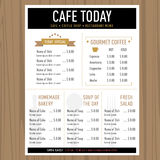 Menu design Cafe restaurant template with icons and text Royalty Free Stock Images
