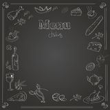 Menu design with a chalk board texture Stock Images