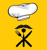 Menu design chef hat with fork, spoon, knife and m Royalty Free Stock Image