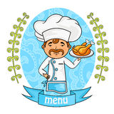 Menu design. chef holding a tray with chicken. vector. Menu design. chef holding a tray with chicken. background pattern of branches with leaves on the sides Stock Image