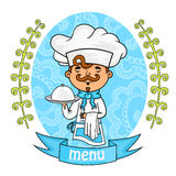 Menu design. chef with a tray in his hands. vector. Menu design. chef with a tray in his hands. background pattern of branches with leaves on the sides. logo Royalty Free Stock Photo
