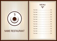 Menu design with Coffee or tea shop logo. Brochure template for restaurant. Vector image Royalty Free Stock Image