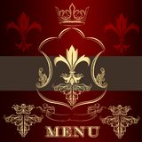 Menu design with crown and fleur de lis  in vintage style Stock Images