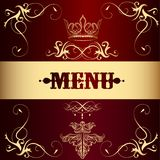Menu design with crown in vintage style Stock Photos