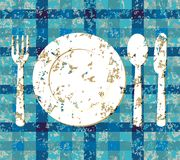 Menu design grunge with cutlery on blue tablecloth Stock Photo