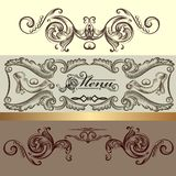 Menu design with hand drawn ornament Royalty Free Stock Photography
