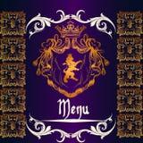 Menu design in heraldic style Stock Image