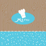 Menu design for a nice blue background in lace Stock Images