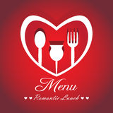 Menu Design with paper heart look Stock Image