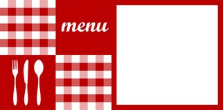 Menu design. Red tablecloth. Royalty Free Stock Photography